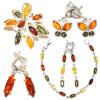 Cерьги, кольца, браслеты: посеребренная латунь и янтарь