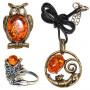 Подвески, броши, кольца: латунь и янтарь (163)