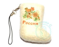 Валенок-брелок Россия хохлома