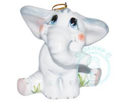 Слоненок майолика на веревочке