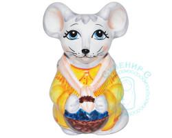 Мышка с корзинкой майолика