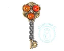 Брошь Ключ в Нарнию янтарь-латунь