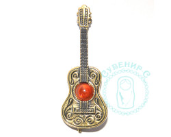 Брошь Гитара Испанца янтарь-латунь