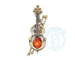 Брошь Скрипка Амати янтарь-латунь