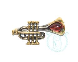 Брошь Труба янтарь-латунь
