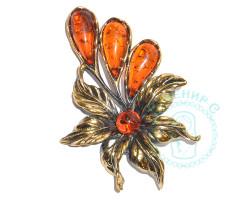 Брошь Цветок тропический янтарь-латунь