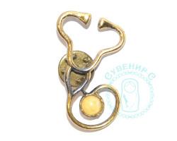 Брошь Стетоскоп медицина янтарь-латунь