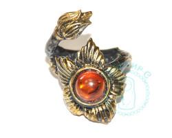 Кольцо Цветок янтарь-латунь