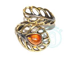 Кольцо Перышко ажурное янтарь-латунь