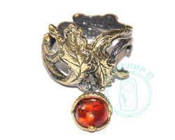 Кольцо Веточка Желуди янтарь-латунь