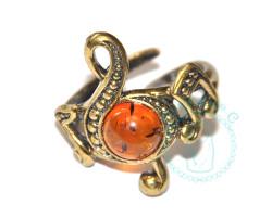 Кольцо Нотка янтарь-латунь