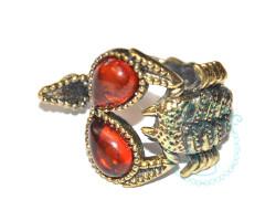 Кольцо Скорпион янтарь-латунь