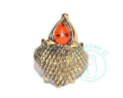 Кольцо Ежик янтарь-латунь