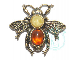 Брошь Пчелка янтарь-латунь