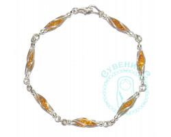 Браслет серебро-янтарь 8