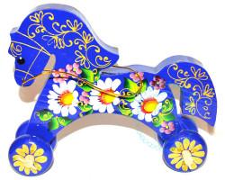 Лошадка на колесах большая Синяя