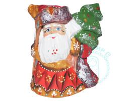 Дед Мороз резной с елкой 12см
