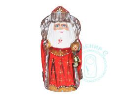 Дед Мороз резной с посохом 12см