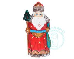 Дед Мороз резной с елкой 17см