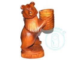 Медведь деревянный резной со стаканом
