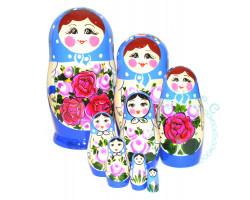Матрешка Семеновская синяя 8-ми кукольная