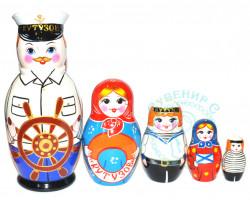 Матрешка Семьянин Моряк 5 кукол