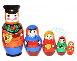 Матрешка Семьянин с балалайкой 5 кукол