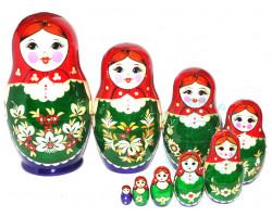 Матрешка Вятка с инкрустацией 9 кукол