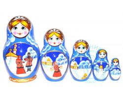 Матрешка Зима 5 кукол 1
