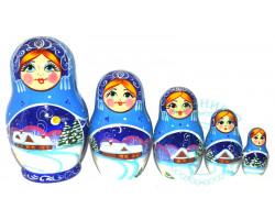 Матрешка Зима 5 кукол 2