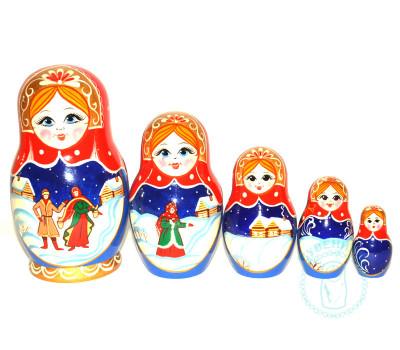 Матрешка Зима 5 кукол 3