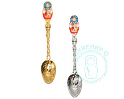 Ложка сувенирная Матрешка золото/серебро