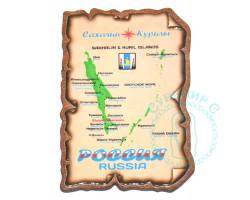 Магнит карта Сахалин-Курилы винтаж