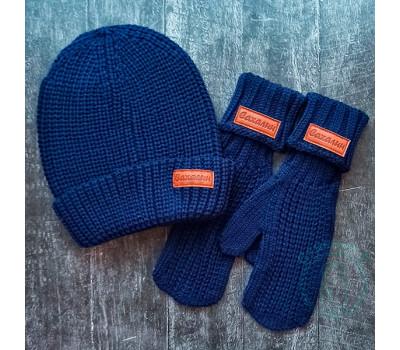 Набор Сахалин шапка+варежки синий