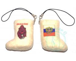 Валенок-брелок Сахалин медведь-Россия флаг-герб 1
