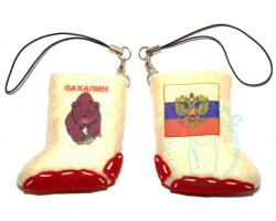 Валенок-брелок Сахалин медведь-Россия флаг-герб 2