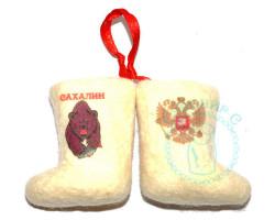Пара валенок подвеска Сахалин медведь-Россия герб 1