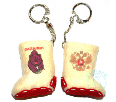 Валенок-брелок Сахалин медведь-Россия герб 2