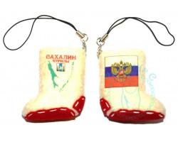 Валенок-брелок Сахалин карта-Россия флаг-герб 2