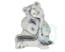 Медвежонок с рыбой 2 мрамор.кр.