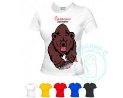 Футболка женская Сахалин-Медведь / цвета в ассортименте