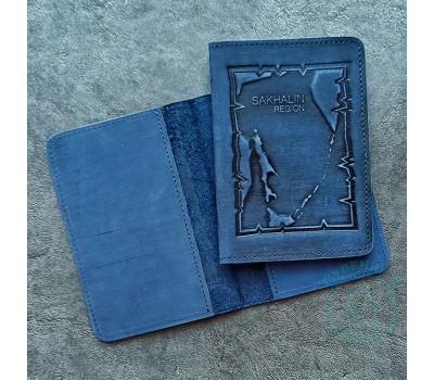Обложка на паспорт Sakhalin region / синий2