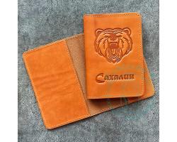 Обложка на паспорт Сахалин-Медведь / песочный