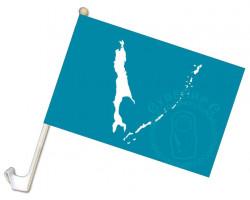 Флаг Сахалинской области 24х36 с кронштейном
