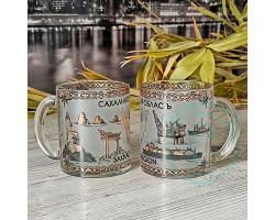 Кружка чайная стекло Сахалин-природа-нефтегаз 300мл