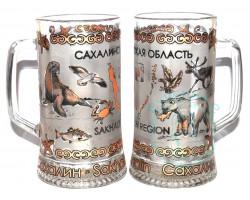 Кружка пивная стекло 0,33 л Сахалин-животный мир