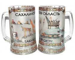 Кружка пивная стекло 0,5 л Сахалин-природа-нефтегаз