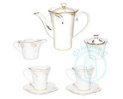 Чайный набор Пион белый фарфор золото гжель