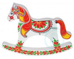 Лошадка-качалка Хохлома 12х16х2 бел.