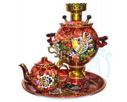 Самовар с чайником на подносе (3 л.) 3